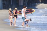 Tori Spelling with kids Finn, Hattie, Stella, Liam and Jack at the beach in Malibu