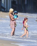 Tori Spelling with son Finn and daughter Stella at the beach in Malibu
