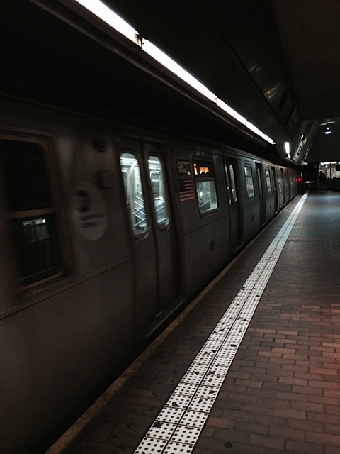 Train arriving at the station in Manhattan