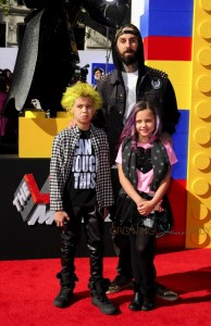 Travis Barker with kids Alabama and Landon at the premiere of the LEGO Movie