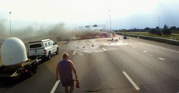 Truck driver saves woman and child in highway accident