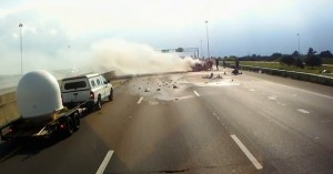 Truck driver saves woman & child in highway accident