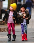 Twins Tabitha (Loretta)  and Marion Broderick on their way to school