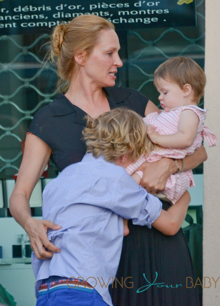 Uma Thurman And Family Spend The Day In Saint Tropez