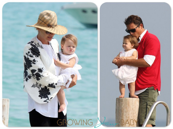 Uma Thurman and Arpad Busson in ST. Tropez with their daughter Rosalind