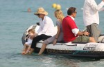 Uma Thurman and Arpad Busson enjoy their holiday with their daughter Rosalind Arusha at French Riviera in Saint-Tropez, France