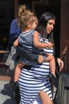 Very Pregnant Kourtney Kardashian out for lunch in LA with daughter Penelope