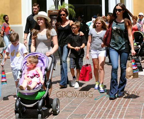 Victoria Beckham with kids Romeo, Cruz and Harper at the Grove in LA