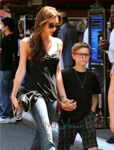 Victoria Beckham with son Romeo at the Grove in LA