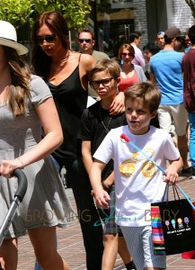 Victoria Beckham with sons Romeo and Cruz at the Grove in LA