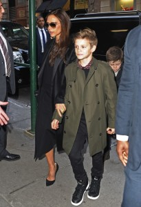 Victoria and Romeo Beckham arrive at Balthazar restaurant in NYC