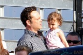 **EXCLUSIVE** FIRST ON SET PHOTOS: Vince Vaughn gets a special visit on set from his wife Kyla Weber and their daughter Locklyn on the set of 'The Internship' filming on location at a mattress store