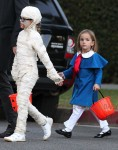 Violet and Seraphina Affleck out for Halloween 2013
