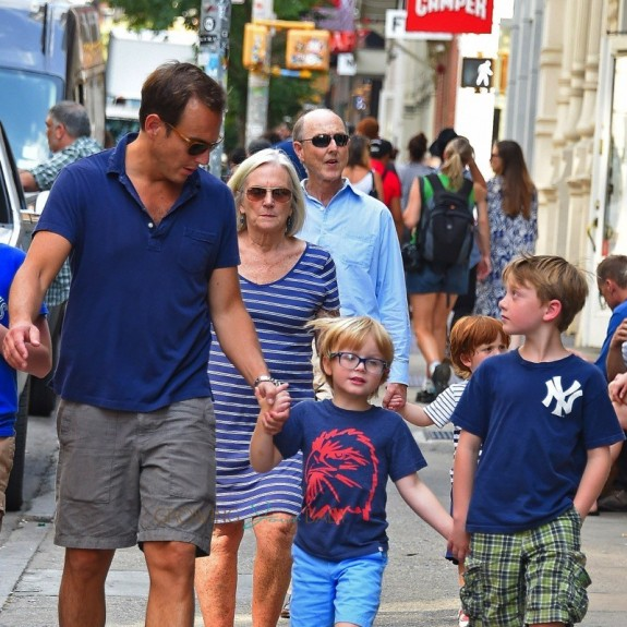 Will Arnett out in NYC with is sons Abel and Archie