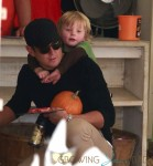 Will Arnett with son Abel at Mr Bones Pumpkin Patch