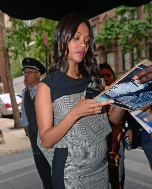 Zoe Saldana shows off her growing Baby belly in NYC
