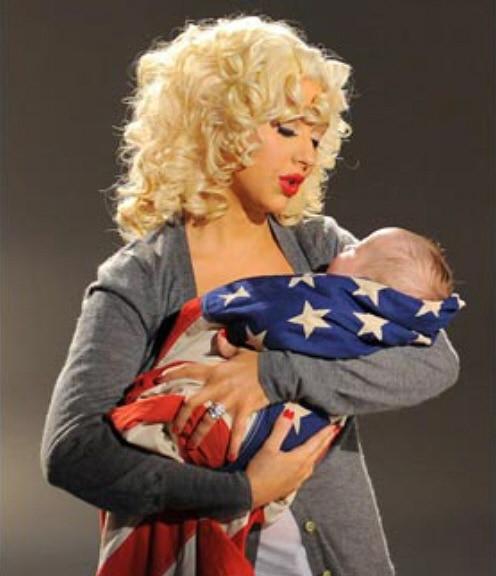 christina aguilera son american flag