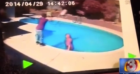 father Corey McCarthy throws toddler into pool as punishment