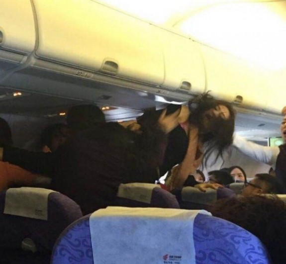 flight brawl Chongqing to Hong Kong