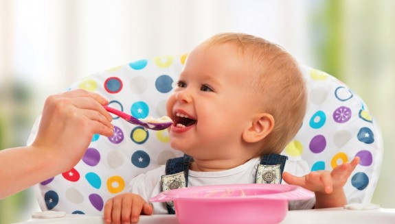 happy baby feeding time