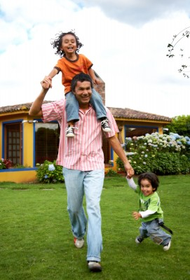 man playing with kids