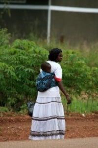mom wearing baby Uganda