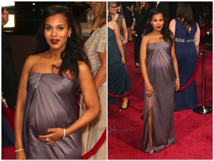 Pregnant Kerry Washington At The 86th Annual Academy