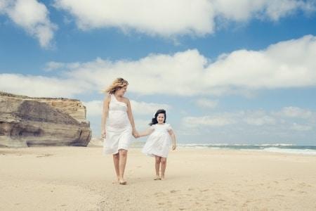 pregnant mom on the beach