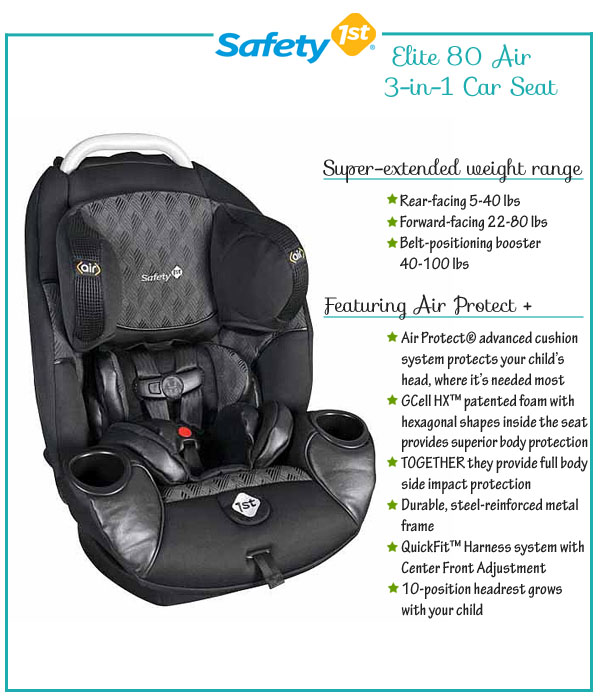 safety 1st Elite 80 Air + 3-in-1 Car Seat - Growing Your Baby