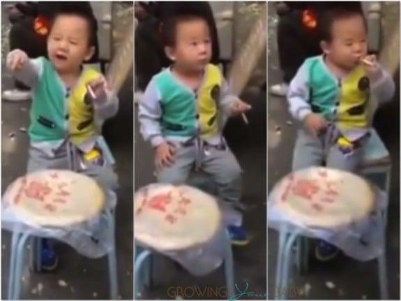 toddler in china smoking
